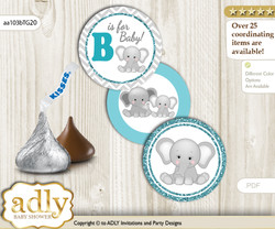 Printable  Peanut Unisex Candy Kisses for Baby Peanut Shower DIY Teal Gray , Chevron