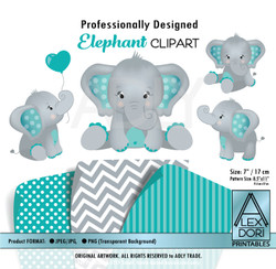 Teal Turquoise and Gray Baby Elephants Peanut Balloon Clipart