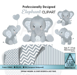 Baby Blue and Soft Gray Baby Elephants Peanut Balloon Clipart