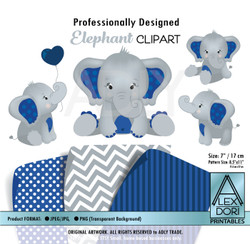 Navy Blue and Gray Baby Elephants Peanut Balloon Clipart