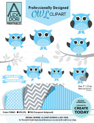 Baby Boy Blue and Grey Owl Clipart