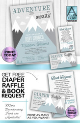 Adventure Awaits book request, diaper raffle, invitation, DIY text editable, PDF