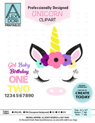 Unicorn Birthday Set Clipart