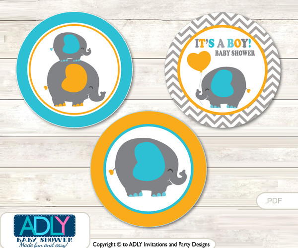 Printable  Boy Peanut Candy Kisses for Baby Boy Shower DIY Teal Orange , Chevron