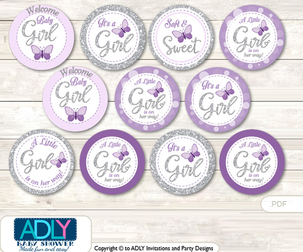 Baby Shower Purple Butterfly Cupcake Toppers Printable File for Little Purple and Mommy-to-be, favor tags, circle toppers, Bokeh, Gray