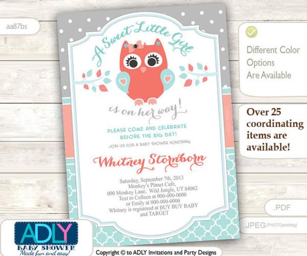 Grey, Aqua, Peach Owl Baby Shower Invitation card, A sweet Little Girl is on her way, gray salmon, polka, coral