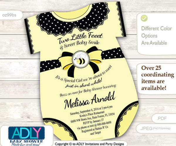 Yellow Black Girl Bee Onesies Invitation for Baby Shower, black lace,babee shower, little bee, mommy to bee, oneies, polka, bow