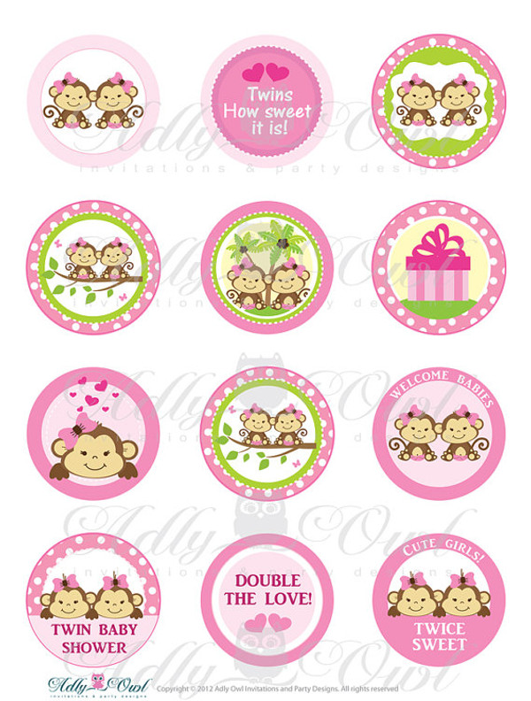 Pink TWIN Girl Monkey Baby Shower Cupcake Toppers or Favor Tags
