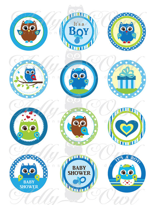 Blue Owl Baby Shower Cupcake Toppers or Favor Tags Printables DIY