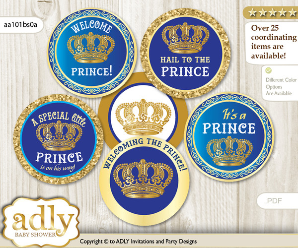 Baby Shower Royal Prince Cupcake Toppers Printable File for Little Royal and Mommy-to-be, favor tags, circle toppers, Crown, Blue Gold