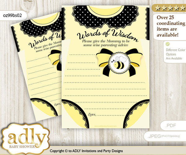 Yellow Black Girl Bee Words of Wisdom or an Advice Printable Card for Baby Shower, Polka