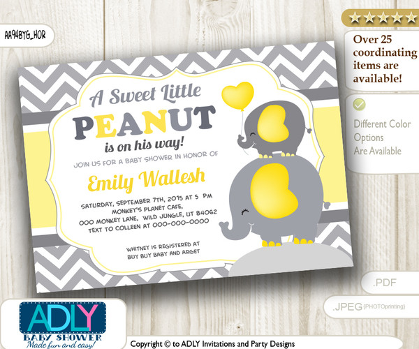 Horizontal Boy Peanut and Elephant Mommy Invitation, yellow grey chevron elephant invitation