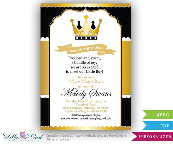 Black Gold Prince Baby Shower Invitation For Boy,king,golden Crown,royal  Shower
