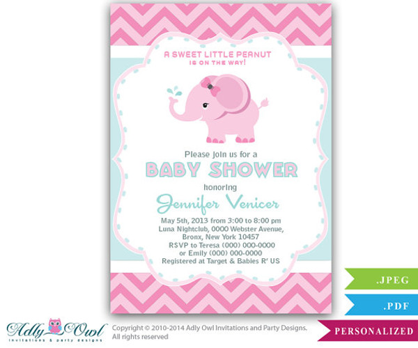 Aqua Pink Elephant Baby Shower Printable DIY Party Invitation For Girl,  Chevron, Pink,