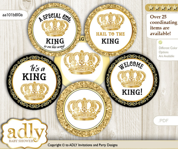 Baby Shower King Cupcake Toppers Printable File for Little Prince and Mommy-to-be, favor tags, circle toppers, Glitter, Gold Black