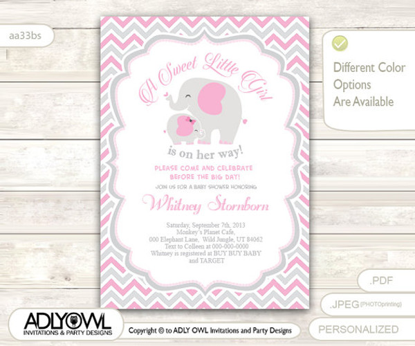 Grey Pink Elephant Baby Shower Invitation Card, A Sweet Little Girl Is On  Her Way