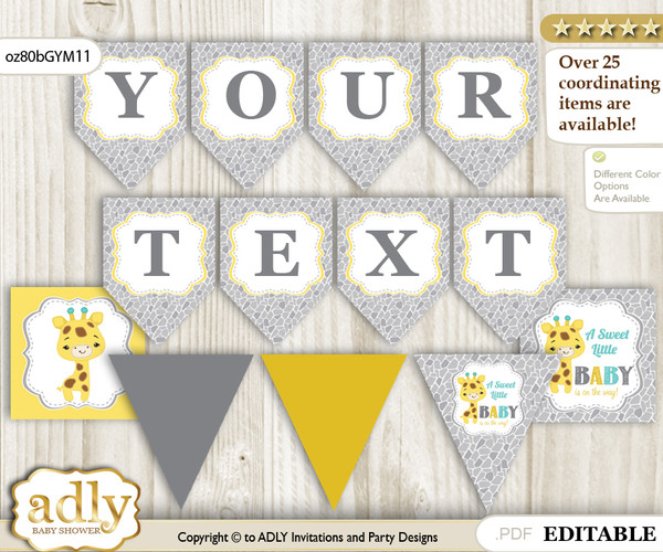 Personalized Baby Giraffe Printable Banner for Baby Shower, Yellow Mint, Neutral