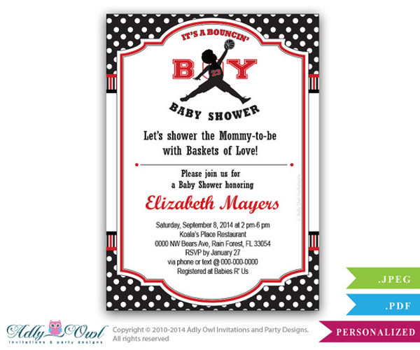 Bouncinu0027 Boy Baby Shower Invitation,Air Jordan Inspired Baby Shower In  Black, Red