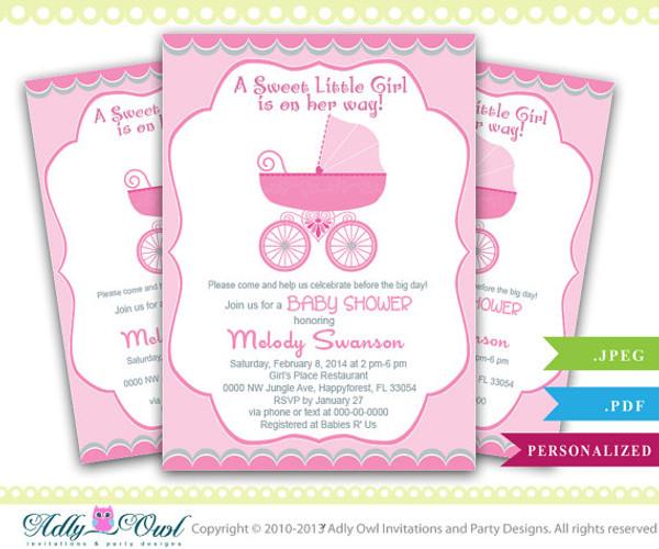Girl Carriage Stroller Baby Shower Invitation, Printable Girl Carriage Baby  Shower Card For A Baby