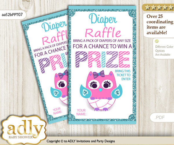Girl Owl Diaper Raffle Printable Tickets for Baby Shower, Pink Teal, Purple