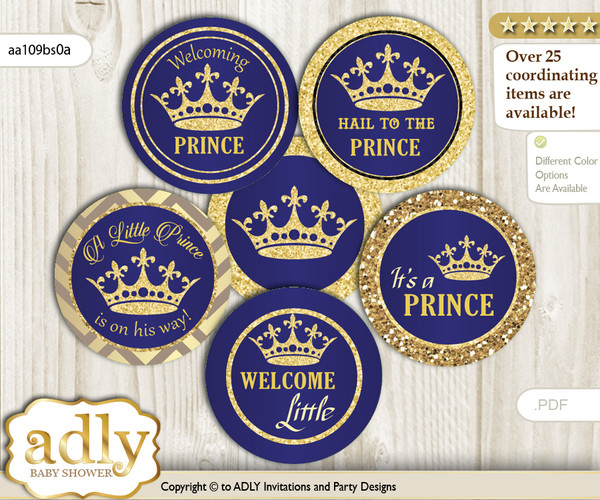 Baby Shower Royal Prince Cupcake Toppers Printable File for Little Royal and Mommy-to-be, favor tags, circle toppers, Crown, Blue Gold  nn