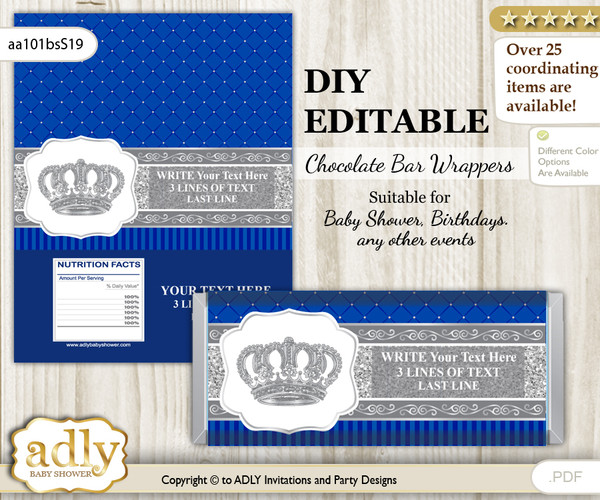 DIY Personalizable Boy Crown Chocolate Bar Candy Wrapper Label for Boy  baby shower, birthday Silver Blue , editable wrappers v