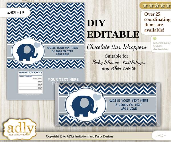 DIY Personalizable Boy Peanut Chocolate Bar Candy Wrapper Label for Boy  baby shower, birthday Blue Grey , editable wrappers n