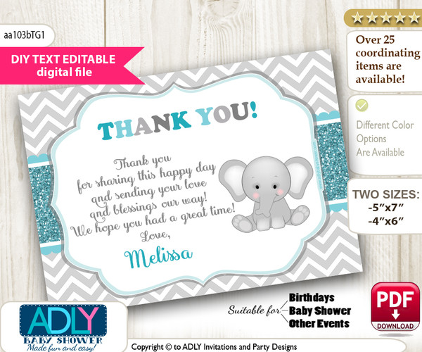 DIY Editable Peanut Unisex Thank you Printable card, only text editable thank you for Baby Shower or Birthday Party