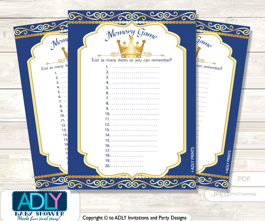Prince Royal Memory Game Card For Baby Shower, Printable Guess Card, Gold,  Blue