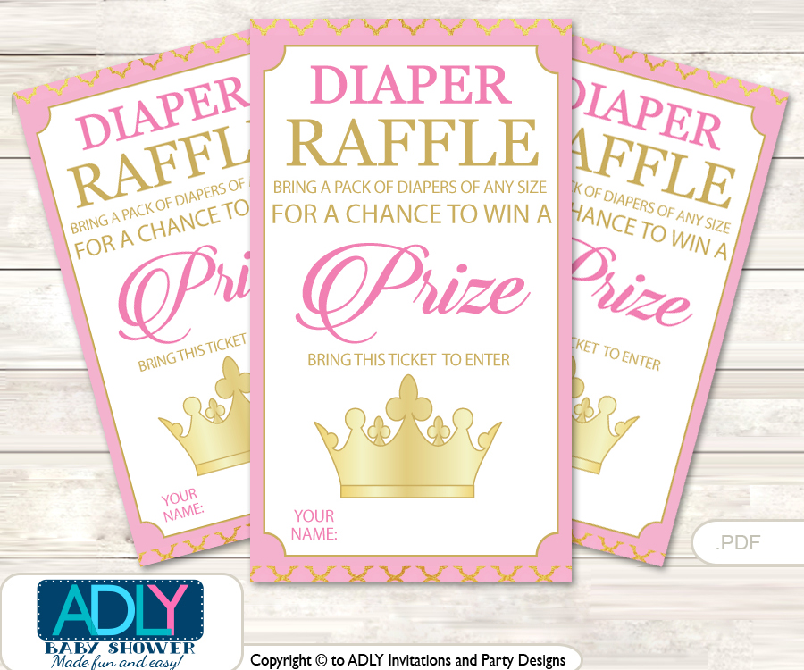 Pink Princess Diaper Raffle Printable Tickets For Baby Shower, Crown, Royal