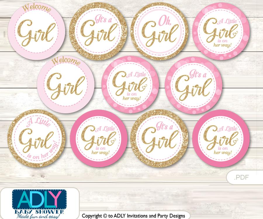Baby Shower Girl Bokeh Cupcake Toppers Printable File for Little