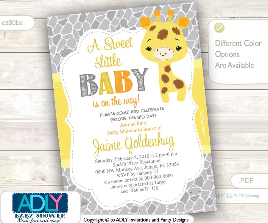Gender Neutral Giraffe Invitation for Baby Shower, Gender Reveal ...