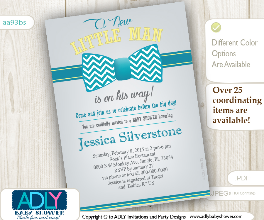 Turquoise Grey Yellow Bow Tie Baby Shower Invitation for a Little ...