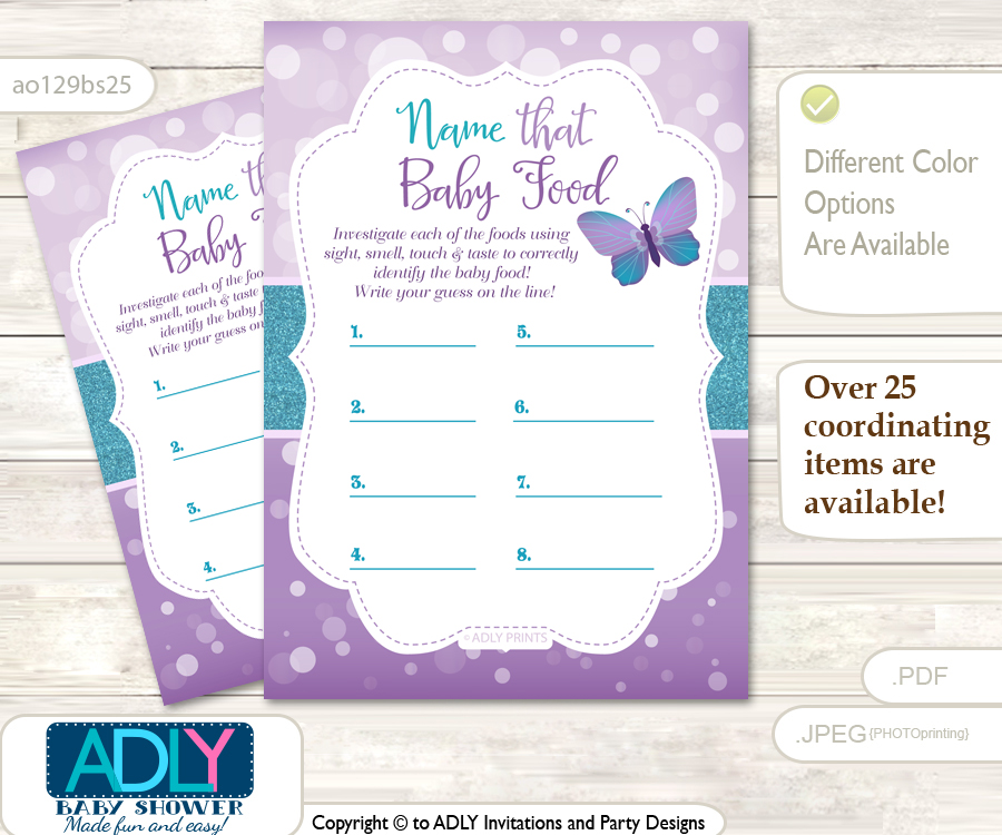Purple Butterfly Guess Baby Food Game Or Name That Baby Food Game For A Baby  Shower