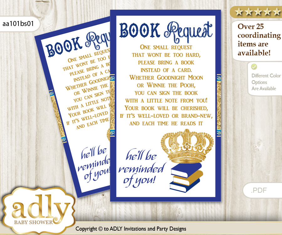 Request A Book Instead Of A Card For Royal Prince Baby Shower Or Birthday,  Printable