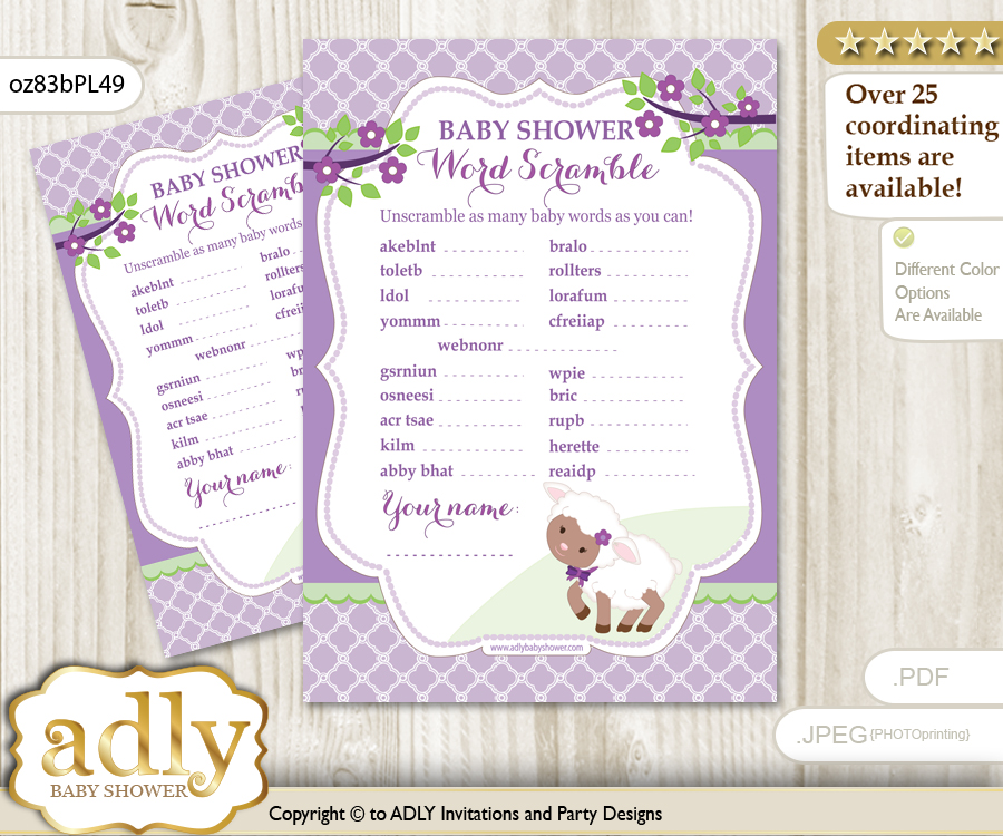 Girl Lambie Word Scramble Game For Baby Shower