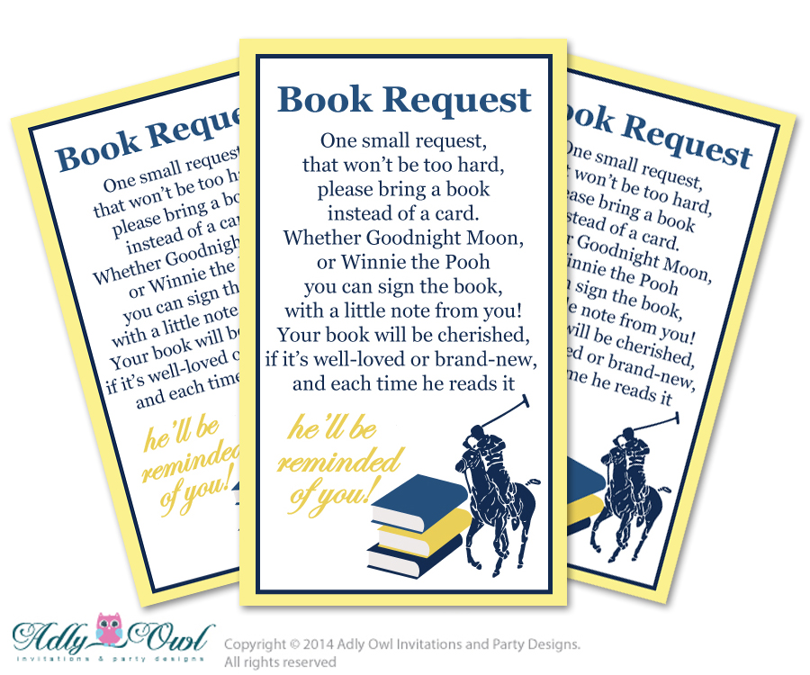 Boy Polo Book Request Baby Shower Printable DIY Tickets, Book Instead Of  Card, Itu0027s