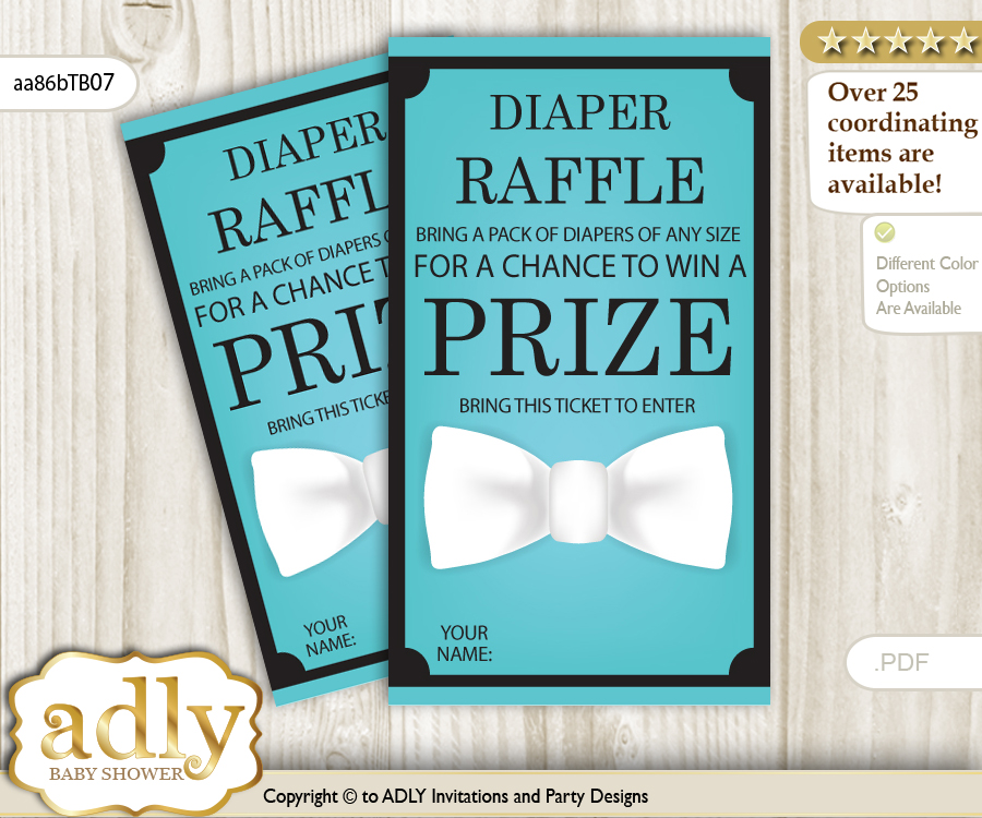 Boy Bow Tie Diaper Raffle Printable Tickets For Baby Shower, White, Tiffany  Co
