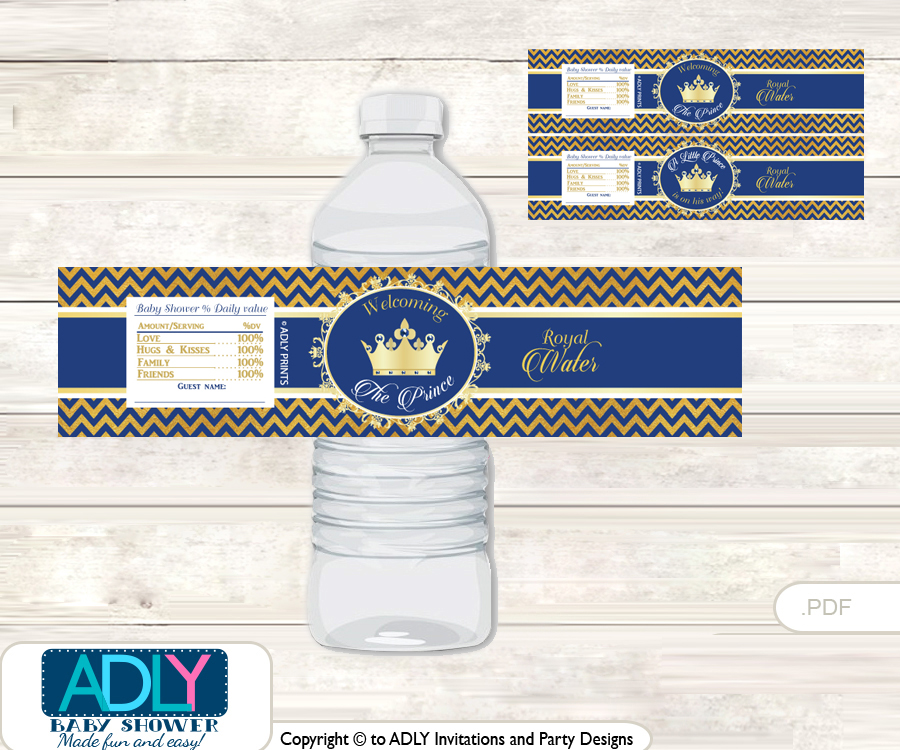 Crown Prince Water Bottle Wrappers, Labels For A Prince Baby Shower, Gold  Blue ,