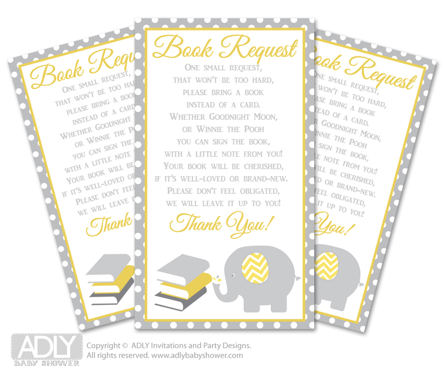 Request A Book Instead Of A Card For Neutral Elephant Baby Shower Or  Birthday, Printable