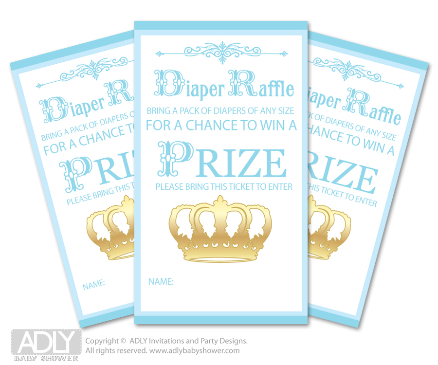 Blue Gold Prince Diaper Raffle Printable Tickets For Baby Shower, Crown,  Royal