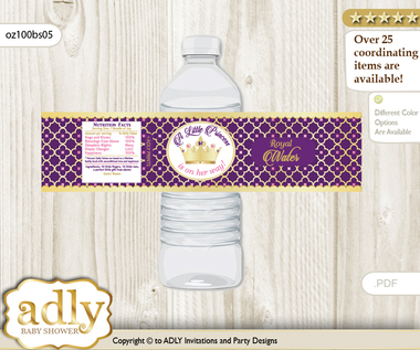 Pink Purple Princess Water Bottle Wrappers Labels For A