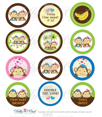 Boy And Girl Twin Monkey Baby Shower Cupcake Toppers Or