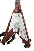 Miniature Guitar Flying V Brown Natural Wood