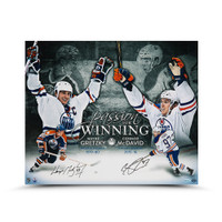 WAYNE GRETZKY AND CONNOR MCDAVID AUTOGRAPHED PASSION FOR WINNING 20 X 24 UDA