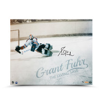 "GRANT FUHR Autographed ""Diving Save"" 16 x 20 Photo UDA LE 31"