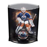 GRANT FUHR Autographed Acrylic Hockey Puck & Limited Edition Goaltender Curve Display Case UDA LE 31