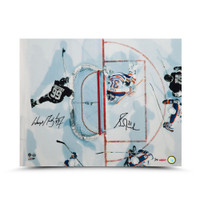 "WAYNE GRETZKY and GRANT FUHR Dual Autographed ""Aerial Assault"" 16 x 20 UDA LE 75"