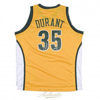 "KEVIN DURANT Autographed Yellow Supersonics Swingman Jersey with ""08 ROY"" Inscription PANINI LE 135"