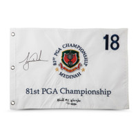 TIGER WOODS Autographed & Embroidered 1999 PGA Championship Pin Flag UDA LE 500